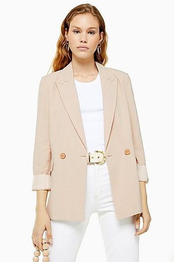 Topshop Double Breasted Jacket With Linen