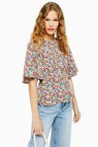 Topshop Austin Floral Print Angel Sleeve Blouse