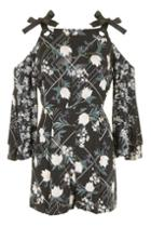 Topshop Fluted Sleeve Playsuit