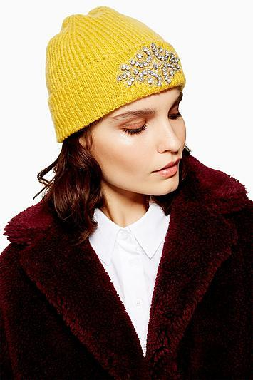 Topshop Fisherman Metallic Thread Embellished Beanie