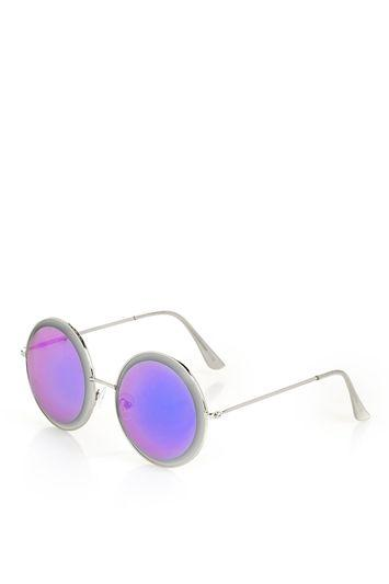 Topshop Bevelled Round Sunglasses