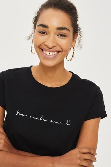 Topshop Petite 'you Make Me Smile' T-shirt