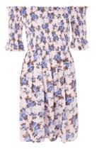 Topshop Tall Floral Print Shirred Bardot Dress