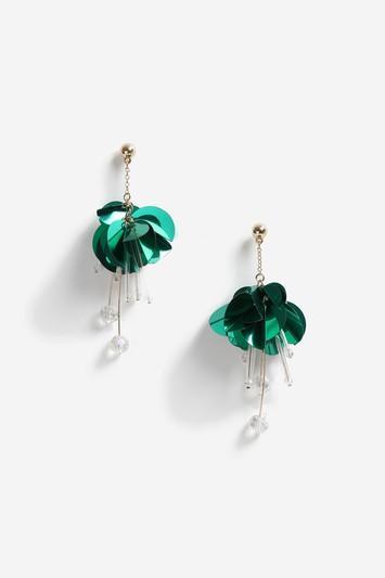 Topshop Green Sequin Facet Drop Earrings