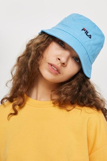 Topshop Blue Baxter Bucket Hat By Fila
