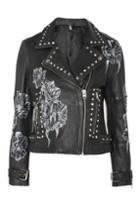 Topshop Leather Slogan Biker Jacket