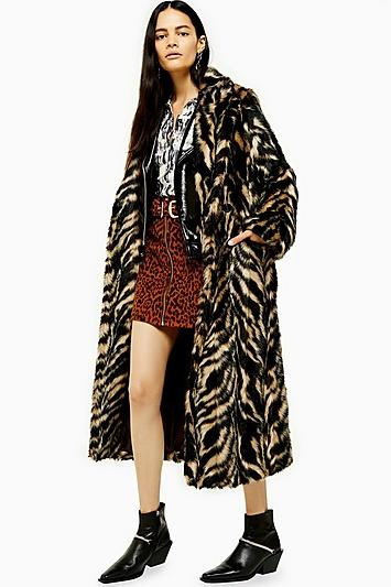 Topshop Faux Fur Tiger Print Coat