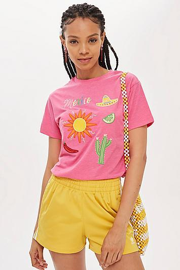 Topshop Embroidered 'mexico' Slogan T-shirt