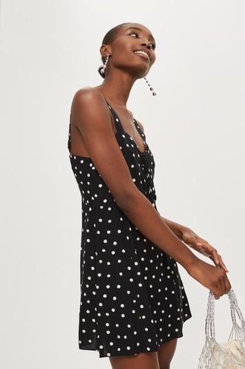 Topshop Shadow Spot Print Mini Dress