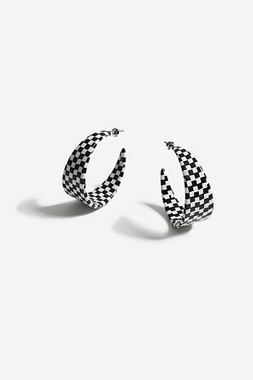 Topshop Checkerboard Hoop Earrings