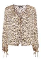 Topshop Animal Bluson Sleeve Blouse