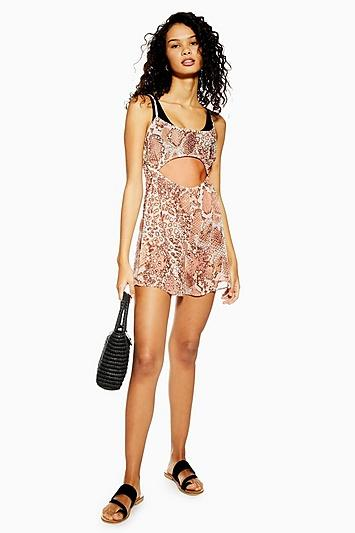 Topshop Snake Print Cut Out Playsuit