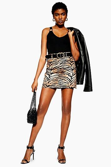 Topshop Tall Tiger Print Denim Skirt