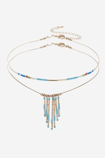 Topshop Beaded Two-row Choker Necklace