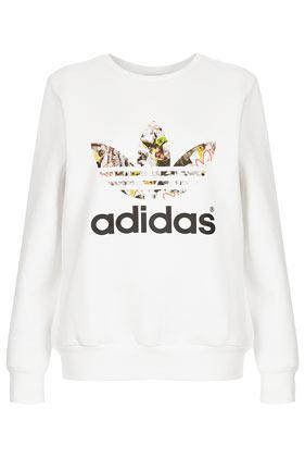 Topshop **trefoil Print Sweat By Topshop X Adidas Originals
