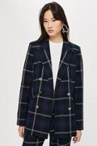 Topshop Tall Double Breasted Check Jacket
