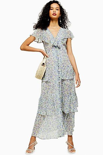 Topshop Floral Tiered Midaxi Dress
