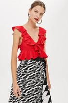 Topshop Cropped Ruffle Top