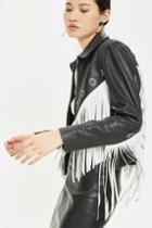 Topshop Fringed Leather Biker Jacket