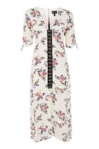 Topshop Floral Hook & Eye Midi Dress