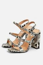 Topshop Reptile Strappy Sandals