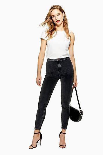 Topshop Velvet Washed Black Joni Jeans