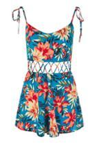 Topshop Floral Crisscross Waist Playsuit