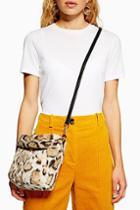 Topshop Leopard Print Faux Fur Bucket Bag