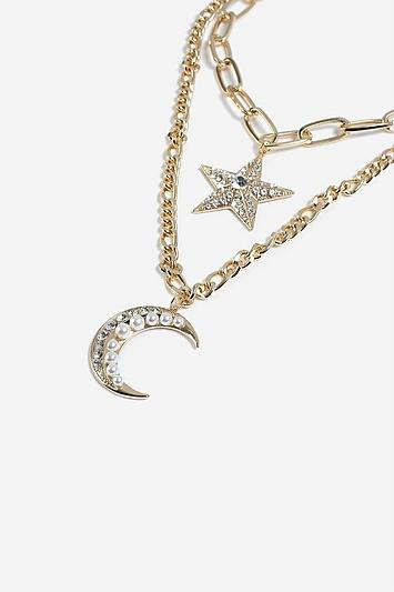 Topshop *moon And Star Multirow Necklace