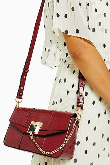 Topshop Crissy Red Chain Cross Body Bag