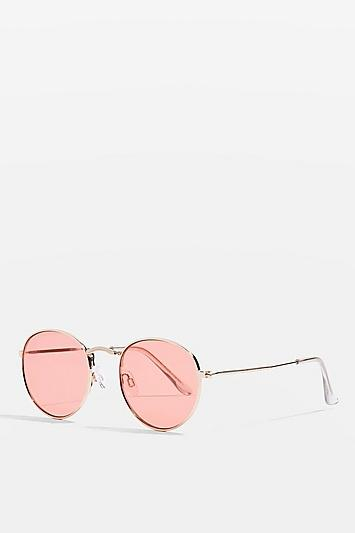 Topshop Metro Round Red Sunglasses