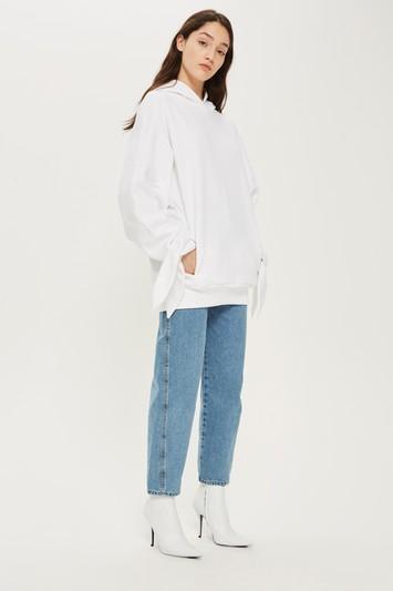 Topshop *tie Sleeve Hoodie By Boutique