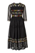 Topshop Embroidered Midi Dress