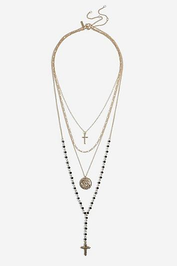 Topshop *multirow Necklace With Cross