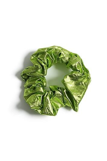Topshop *neon Green Foil Hair Scrunchie