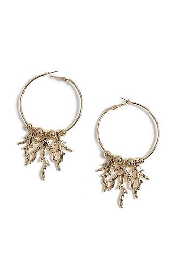 Topshop Coral Drop Hoop Earrings