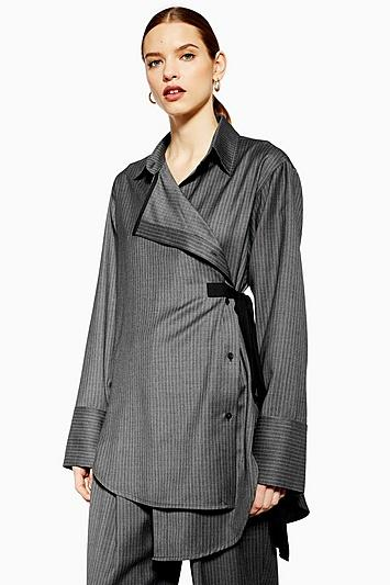 Topshop *tailored Wool Wrap Shirt By Boutique