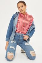 Topshop Petite Blue Ripped Jamie Jeans
