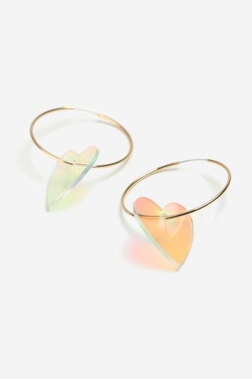 Topshop Heart Drop Hoop Earrings