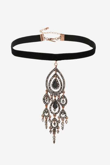 Topshop Chandelier Drop Velvet Choker Necklace