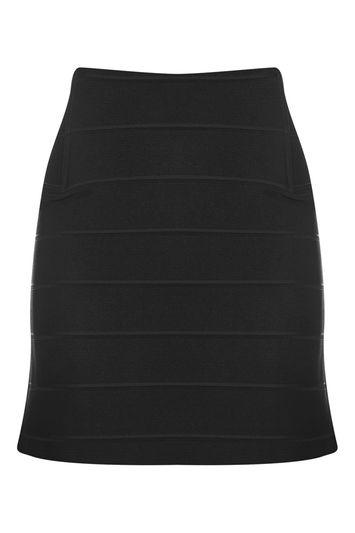 Topshop Bandage Ribbed Mini Skirt