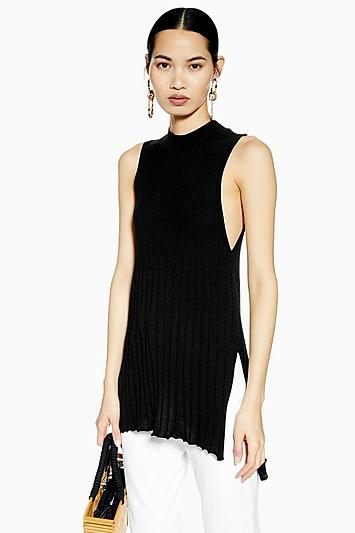 Topshop Knitted Ribbed Long Line Tank Top