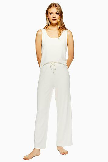 Topshop Cream Brushed Ribbed Pyjama Trousers