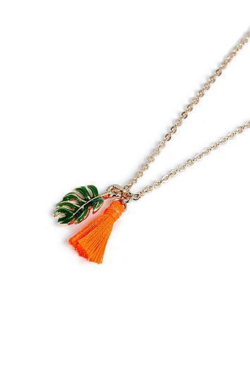 Topshop *leaf And Tassel Ditsy Necklace
