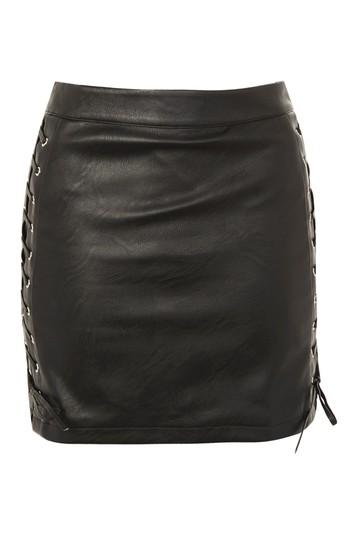 Topshop Lace Up Side Faux Leather Skirt