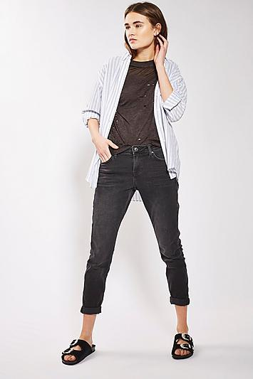 Topshop Washed Black Lucas Slim Boyfriend Jeans