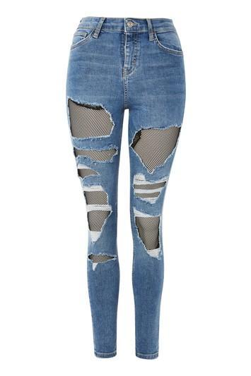 Topshop Moto Fishnet Jamie Jeans