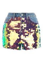 Topshop Moto Sequin Mom Denim Shorts