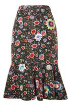 Topshop Ruffle Midi Skirt By Prints By Mochi For Topshop