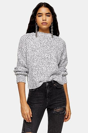 Topshop Black And White Twist Back Crop Jumper